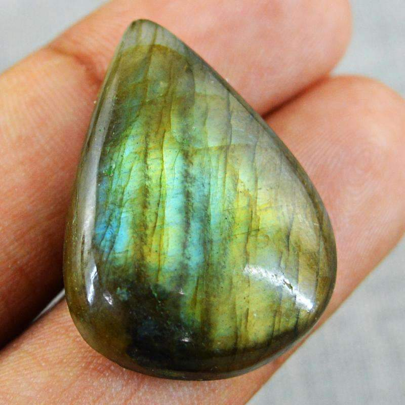 gemsmore:Natural Blue & Golden Flash Labradorite Gemstone - Pear Shape