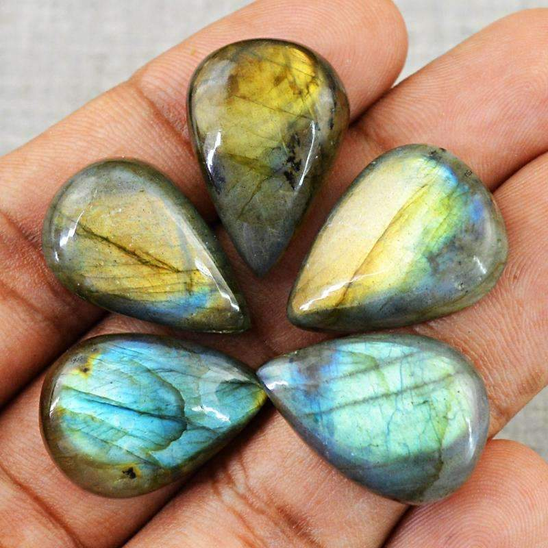 gemsmore:Natural Blue & Golden Flash Labradorite Gemstone Lot - Pear Shape