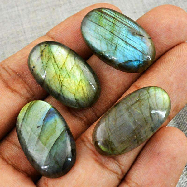 gemsmore:Natural Blue & Golden Flash Labradorite Gemstone Lot Oval Shape