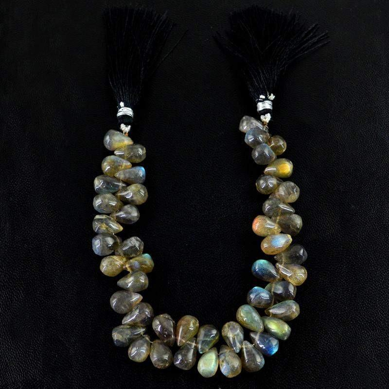 gemsmore:Natural Blue & Golden Flash Labradorite Tear Drop Beads Strand