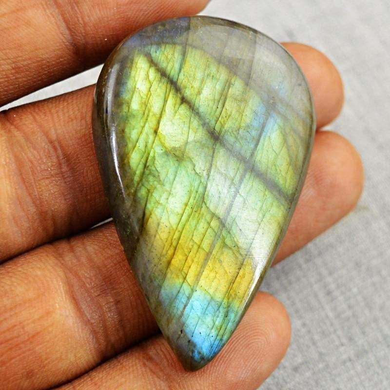 gemsmore:Natural Blue & Golden Flash Pear Shape Labradorite Gemstone
