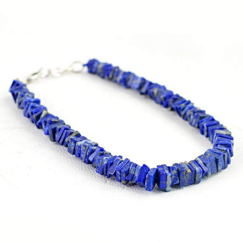 gemsmore:Natural Blue Lapis Lazuli Beads Bracelet