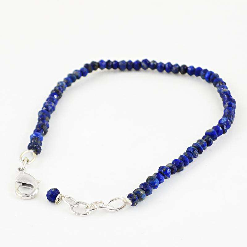 gemsmore:Natural Blue Lapis Lazuli Bracelet Faceted Round Shape Beads