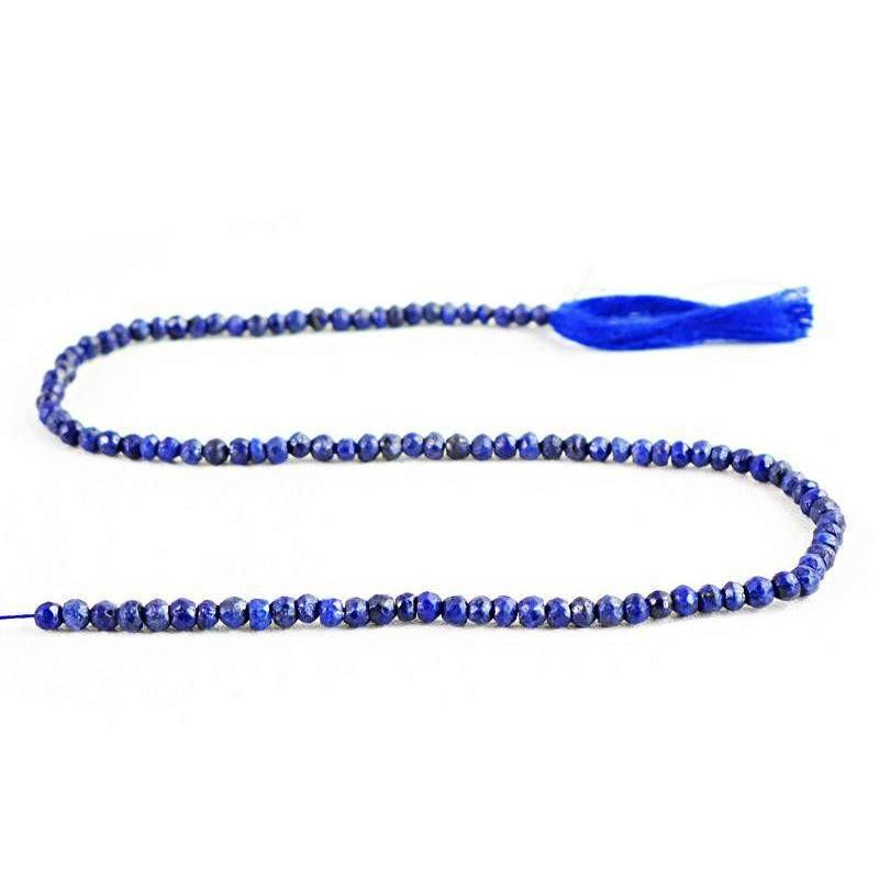 gemsmore:Natural Blue Lapis Lazuli Faceted Round Beads Strand