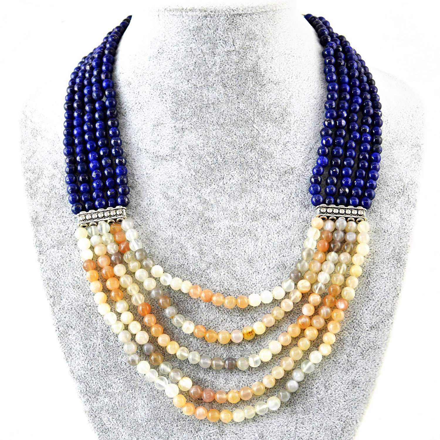gemsmore:Natural Blue Lapis Lazuli & Multicolor Moonstone Necklace 5 Line Round Beads
