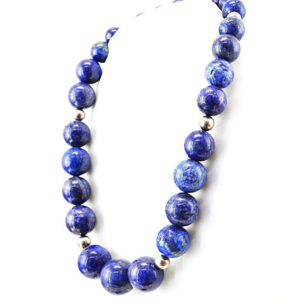 gemsmore:Natural Blue Lapis Lazuli Necklace 20 Inches Long Round Shape Beads