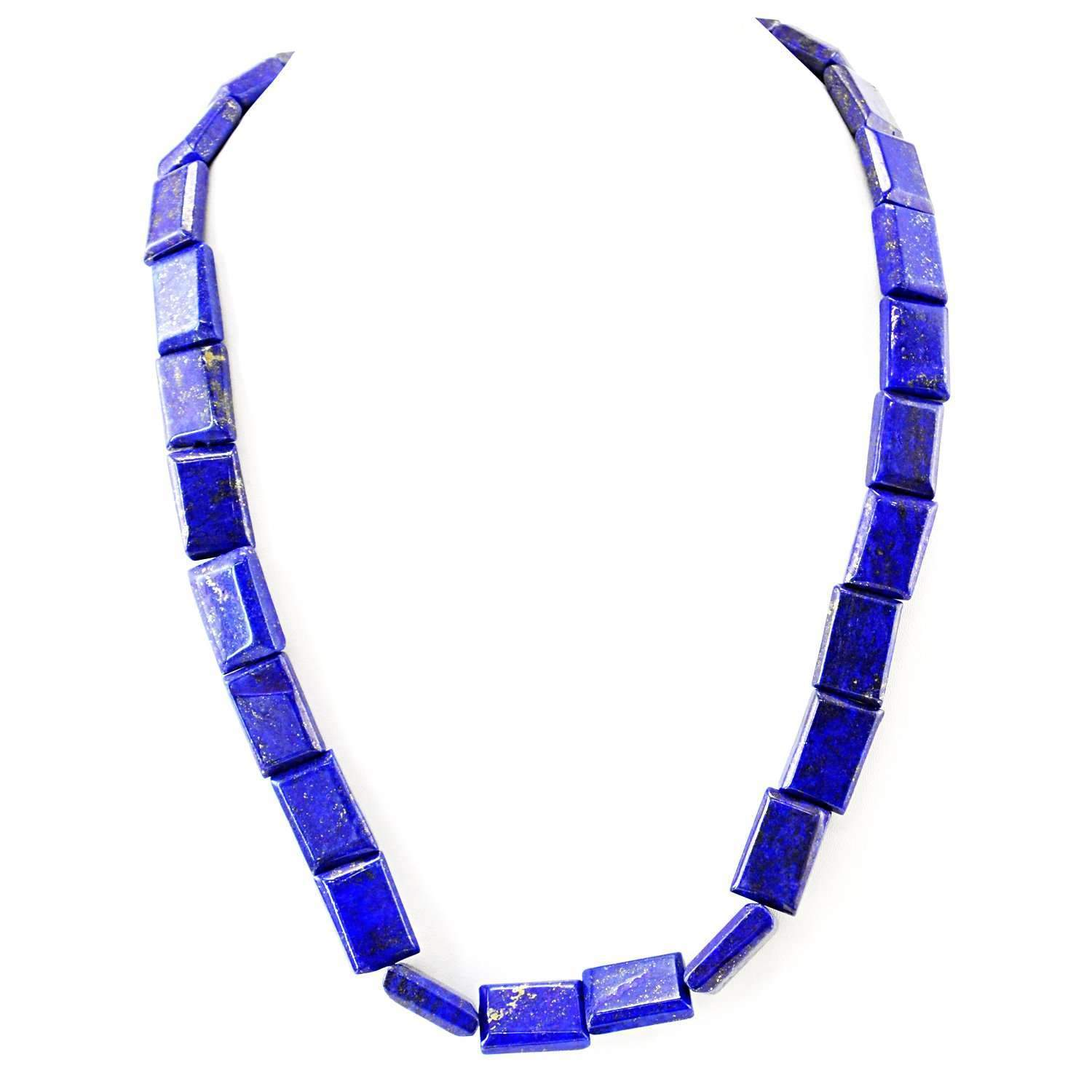 gemsmore:Natural Blue Lapis Lazuli Necklace 20 Inches Long Untreated Beads