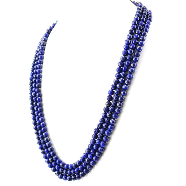 gemsmore:Natural Blue Lapis Lazuli Necklace 3 Strand Round Shape Beads