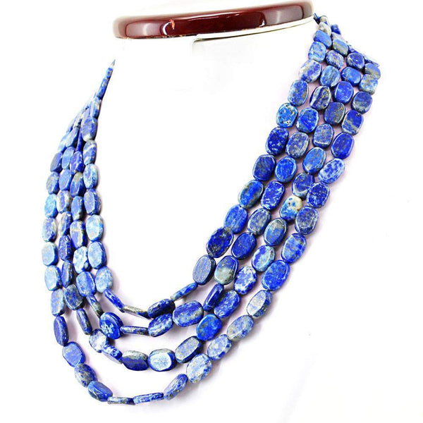 gemsmore:Natural Blue Lapis Lazuli Necklace 4 Line Oval Shape Beads