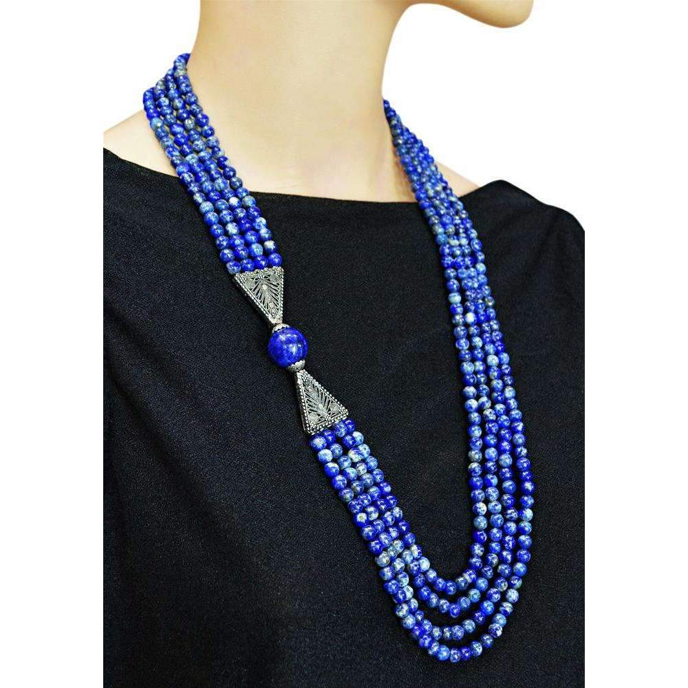 gemsmore:Natural Blue Lapis Lazuli Necklace 4 Strand Round Shape Beads