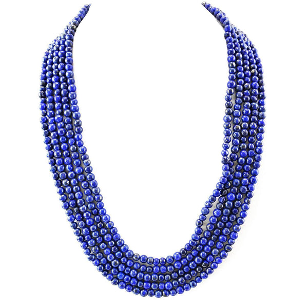 gemsmore:Natural Blue Lapis Lazuli Necklace 5 Strand Round Beads