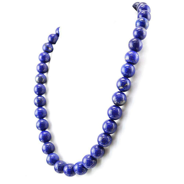 gemsmore:Natural Blue Lapis Lazuli Necklace Round Shape Beads