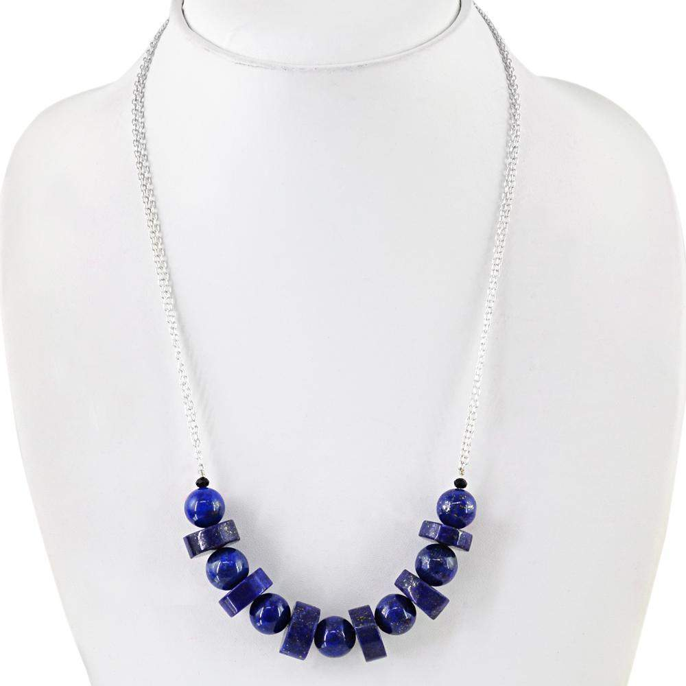 gemsmore:Natural Blue Lapis Lazuli Necklace Single Strand Round Shape Beads