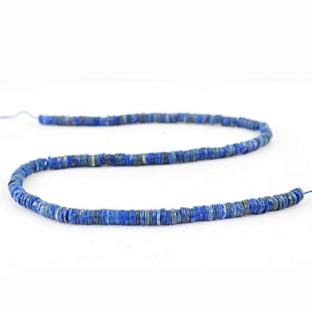 gemsmore:Natural Blue Lapis Lazuli Round Untreated Beads Strand