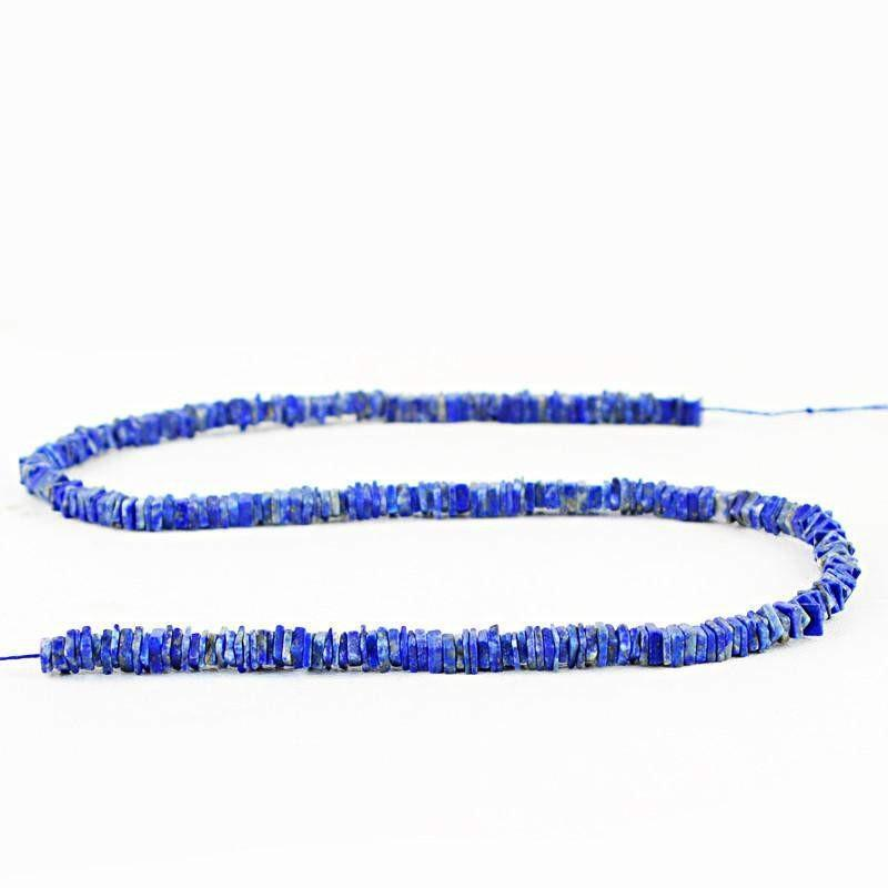 gemsmore:Natural Blue Lapis Lazuli Untreated Beads Strand