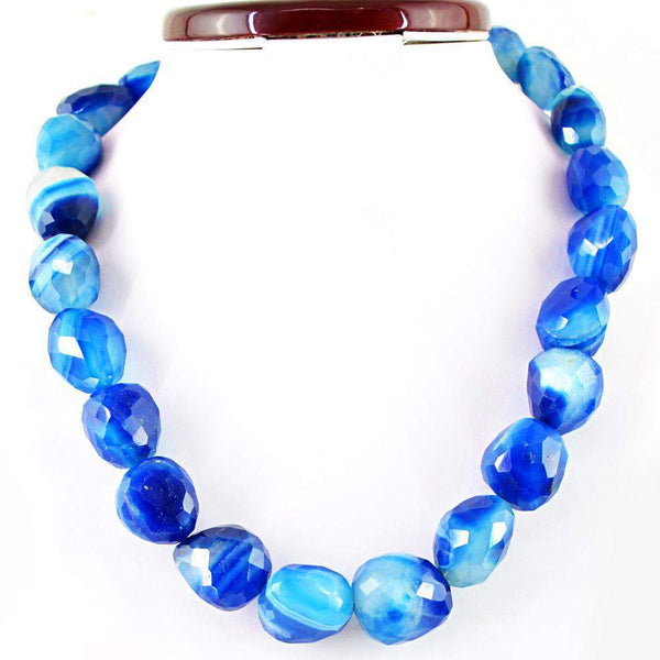 gemsmore:Natural Blue Onyx 20 Inches Long Beads Necklace