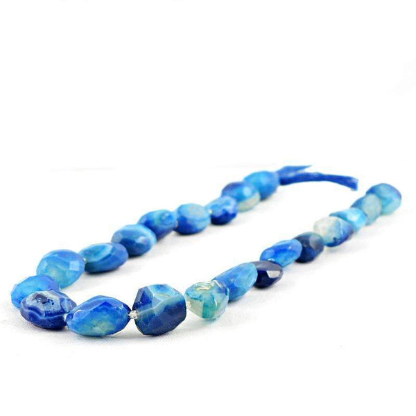 gemsmore:Natural Blue Onyx Drilled Beads Strand - Faceted