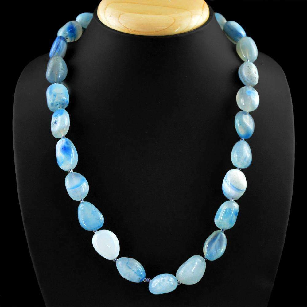 gemsmore:Natural Blue Onyx Necklace 20 Inches Long Untreated Beads