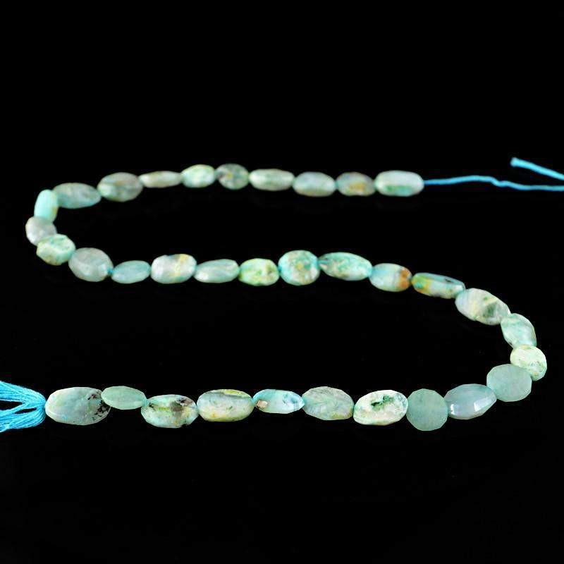gemsmore:Natural Blue Peruvian Opal Drilled Beads Strand