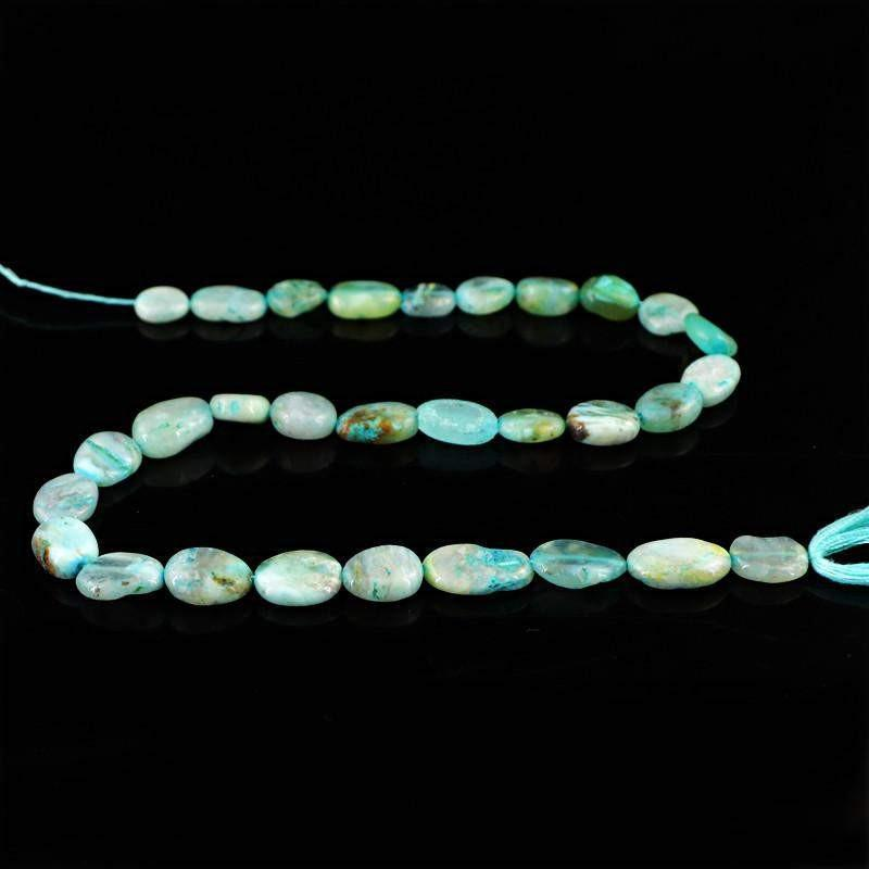 gemsmore:Natural Blue Peruvian Opal Untreated Beads Strand