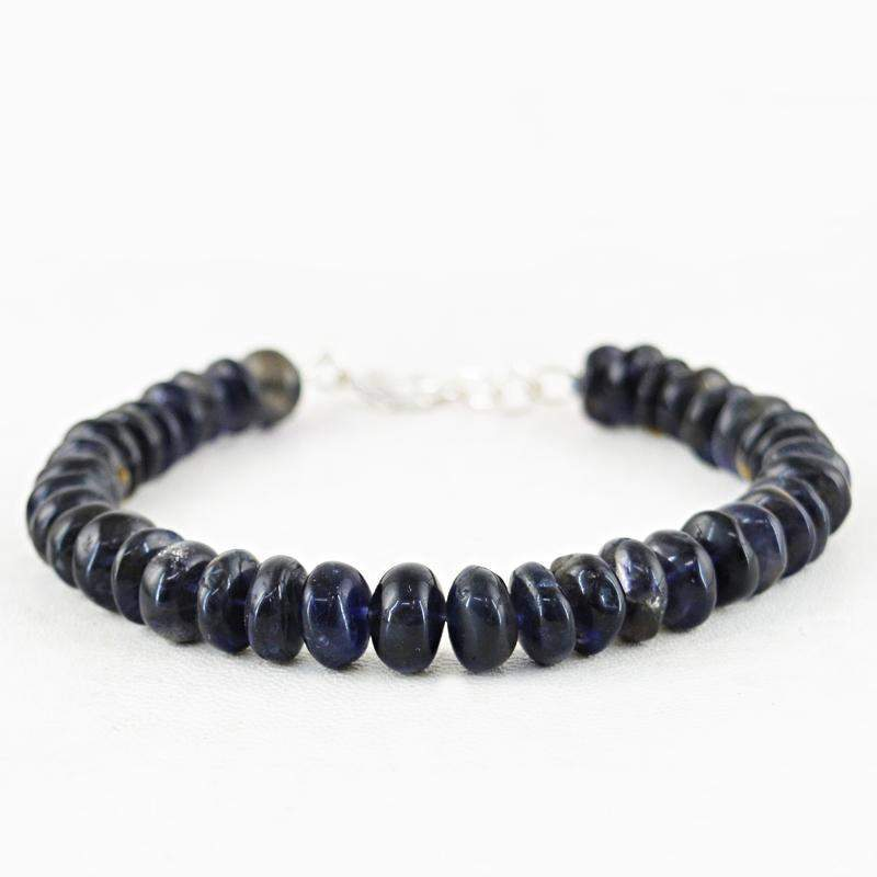 gemsmore:Natural Blue Tanzanite Bracelet Round Shape Beads
