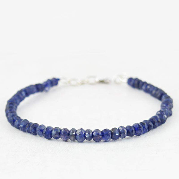gemsmore:Natural Blue Tanzanite Bracelet Round Shape Faceted Beads