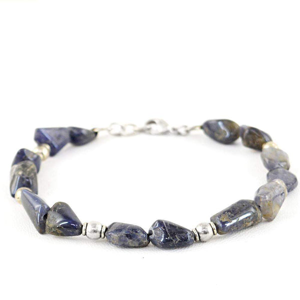 gemsmore:Natural Blue Tanzanite Bracelet Untreated Beads