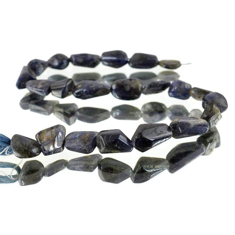 gemsmore:Natural Blue Tanzanite Drilled Beads Strand