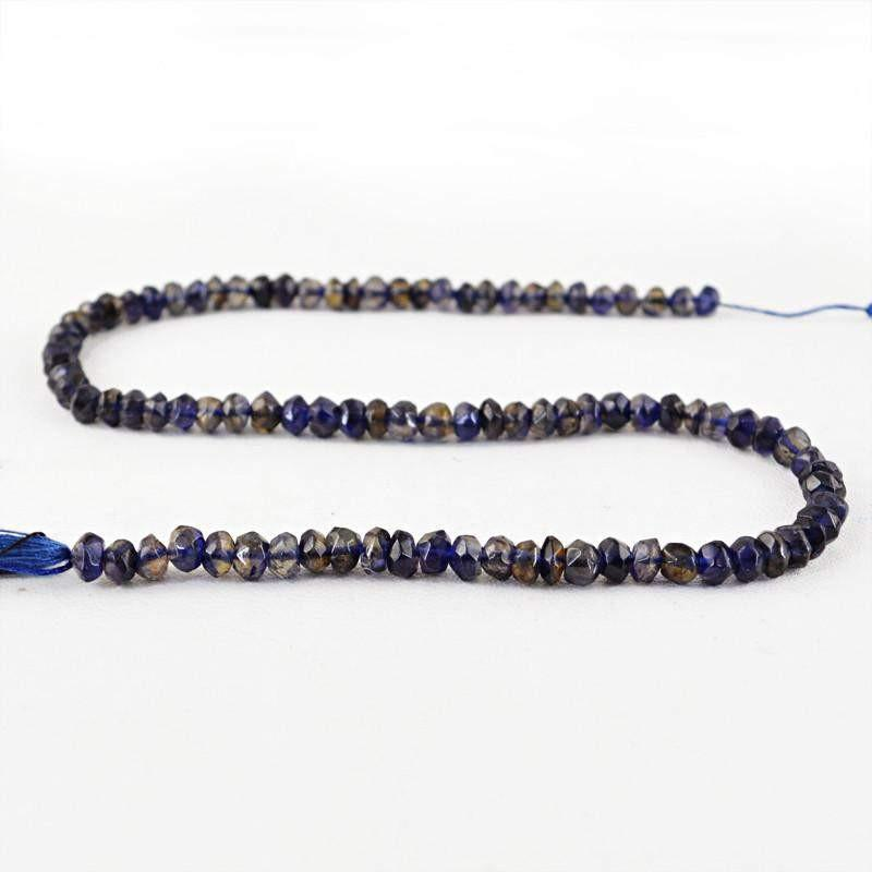 gemsmore:Natural Blue Tanzanite Faceted Untreated Beads Strand