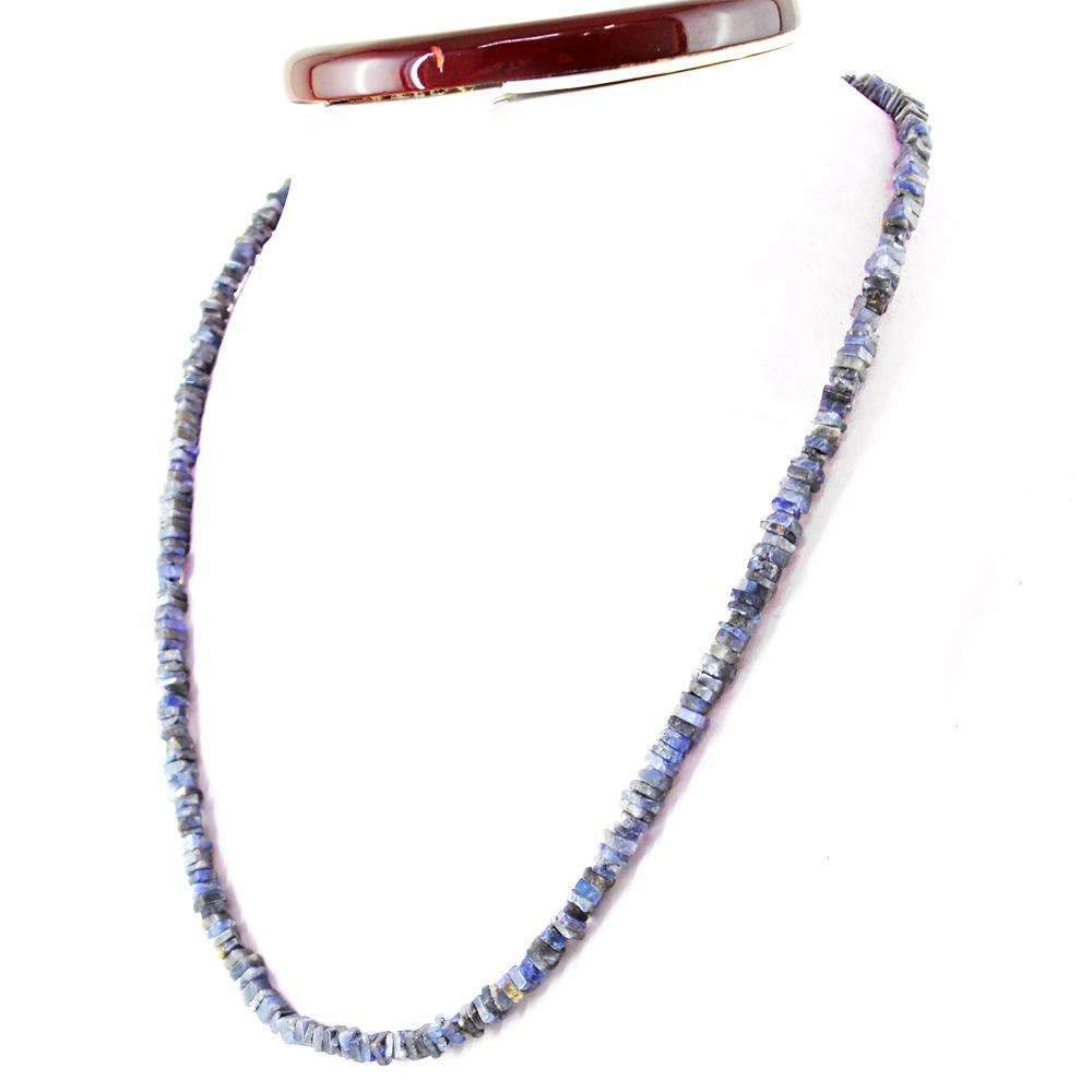 gemsmore:Natural Blue Tanzanite Necklace 20 Inches Long Untreated Beads