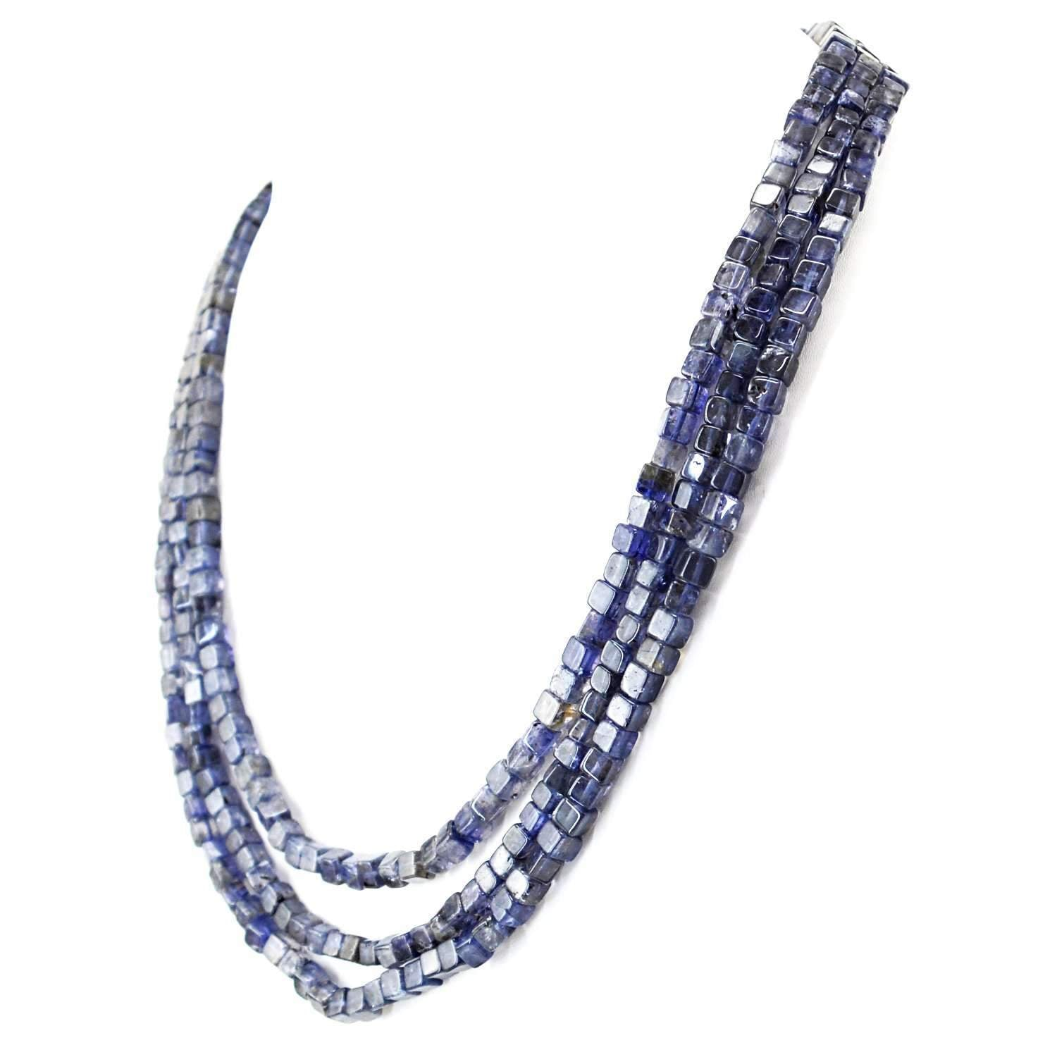 gemsmore:Natural Blue Tanzanite Necklace 3 Strand Untreated Beads