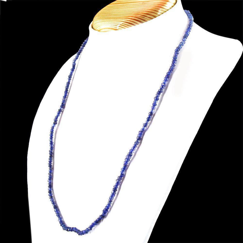 gemsmore:Natural Blue Tanzanite Necklace Round Shape Faceted Beads