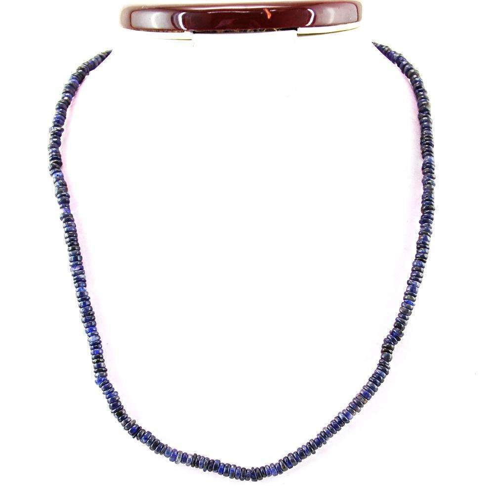 gemsmore:Natural Blue Tanzanite Necklace Round Shape Untreated Beads