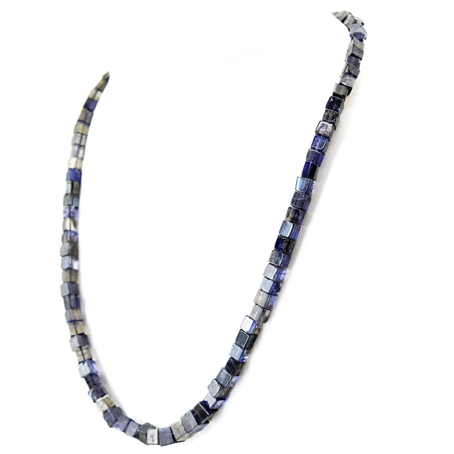 gemsmore:Natural Blue Tanzanite Necklace Single Strand Untreated Beads
