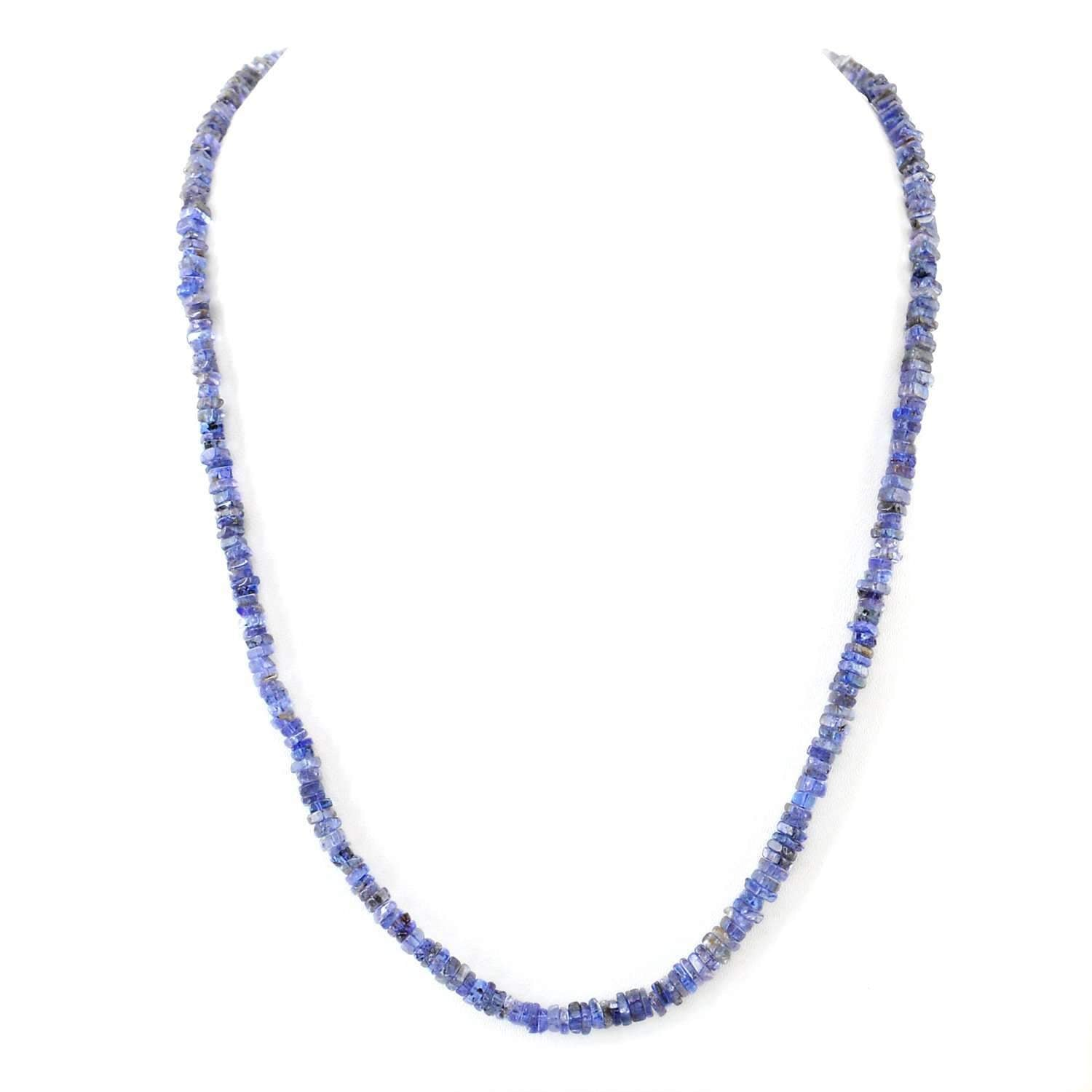 gemsmore:Natural Blue Tanzanite Necklace Untreated Beads