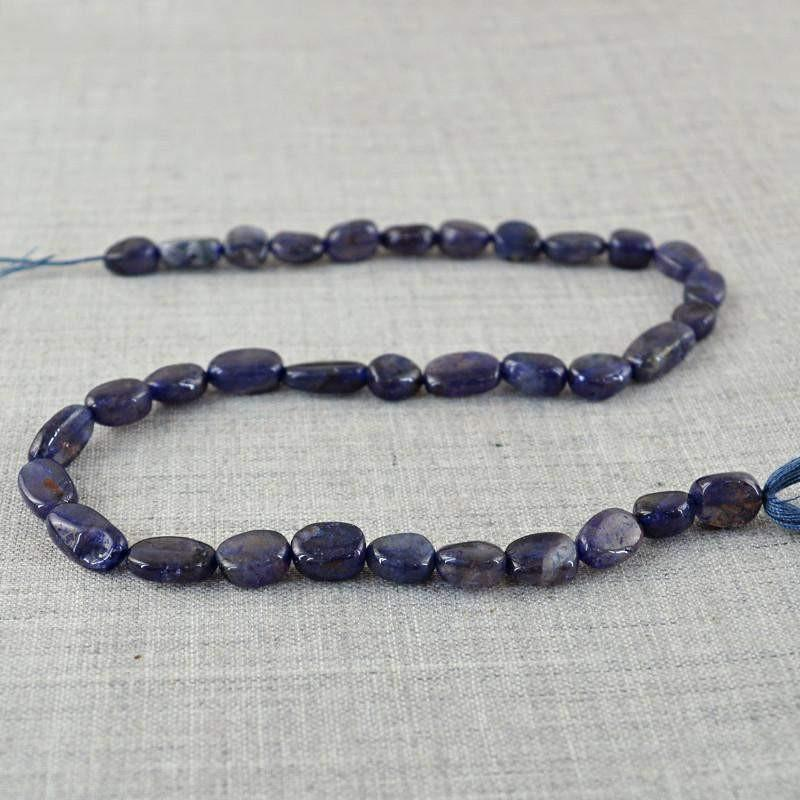 gemsmore:Natural Blue Tanzanite Oval Shape Beads Strand