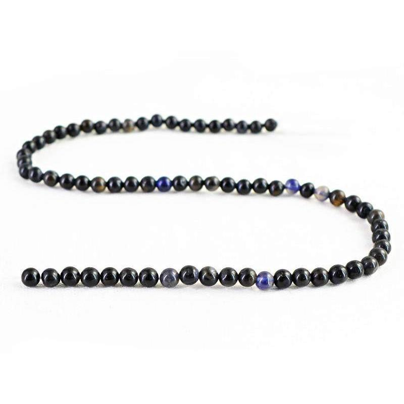 gemsmore:Natural Blue Tanzanite Round Beads Strand