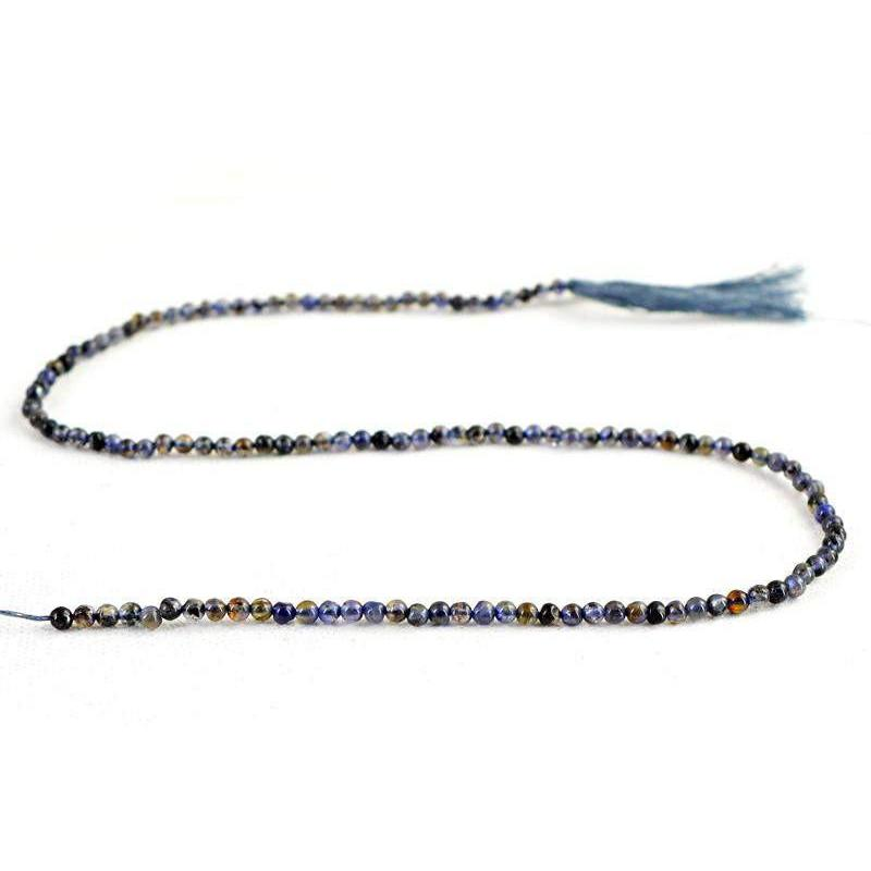 gemsmore:Natural Blue Tanzanite Untreated Round Beads Strand