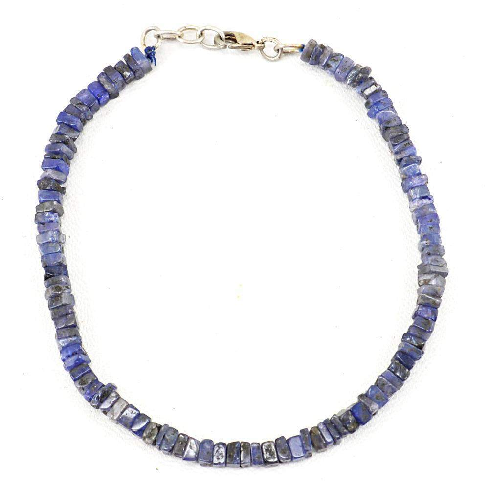 gemsmore:Natural Blue Tazanite Bracelet Untreated Beads