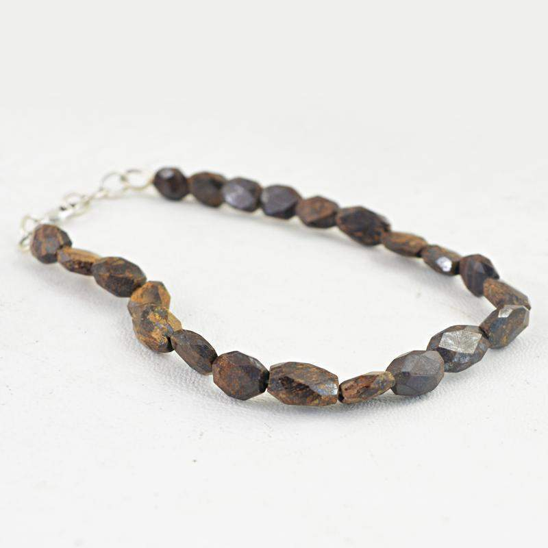 gemsmore:Natural Bronzite Bracelet Faceted Untreated Beads