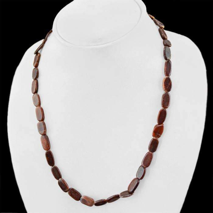 gemsmore:Natural Brown Jasper Necklace Untreated Oval Beads