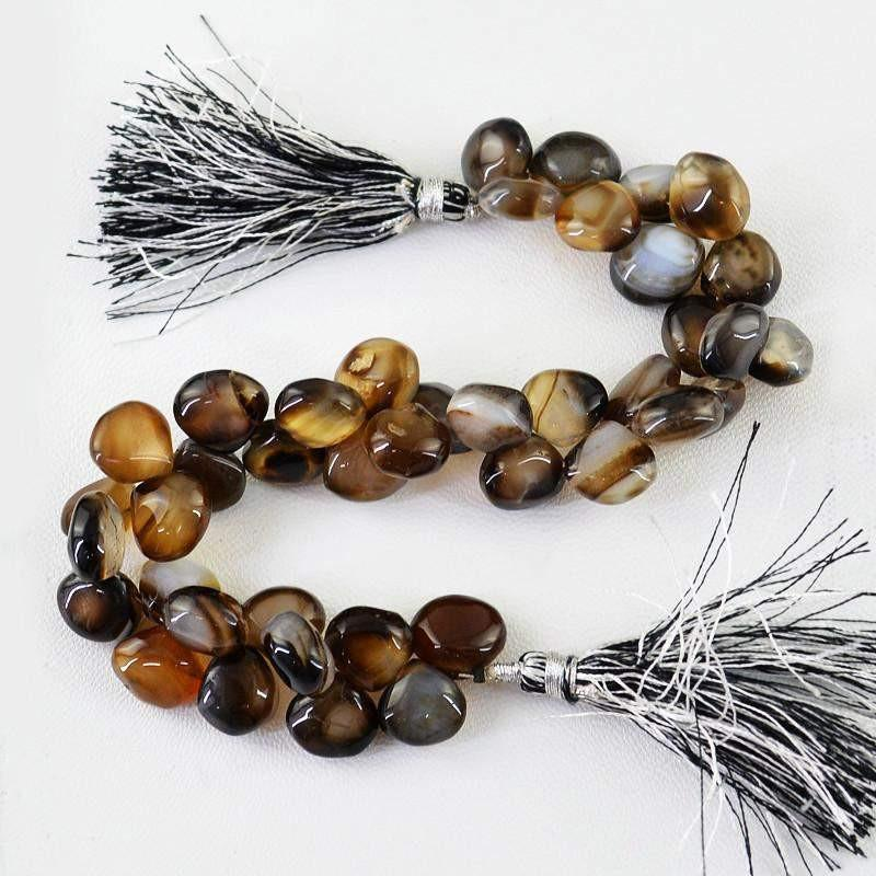 gemsmore:Natural Brown Onyx Tear Drop Drilled Beads Strand