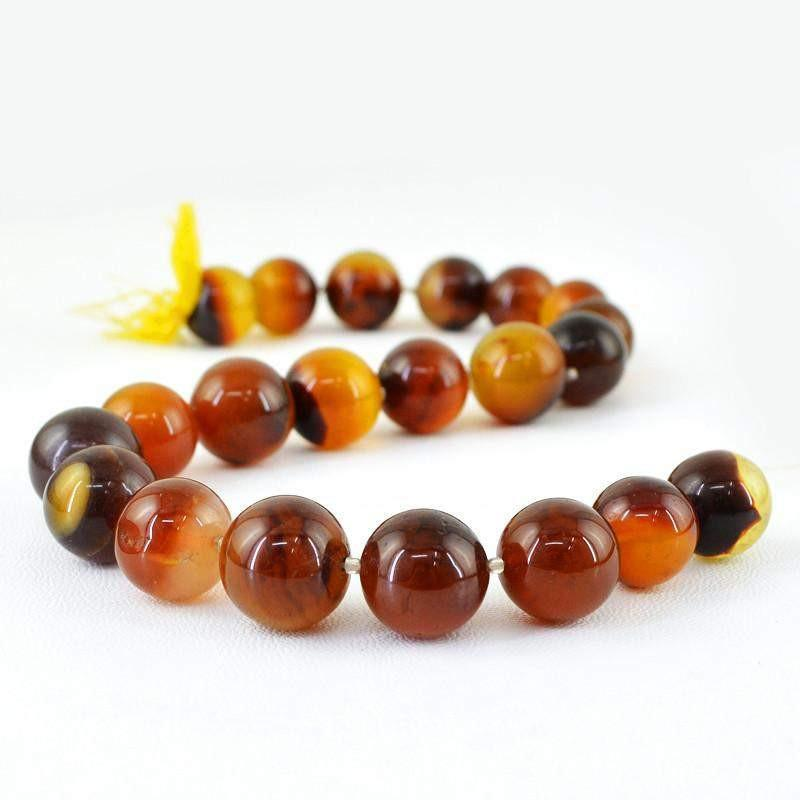 gemsmore:Natural Brown Onyx Unheated Round Beads Strand