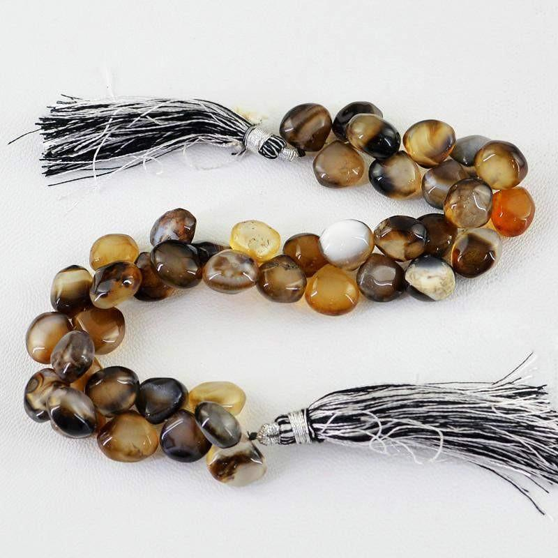 gemsmore:Natural Brown Onyx Untreated Beads Strand
