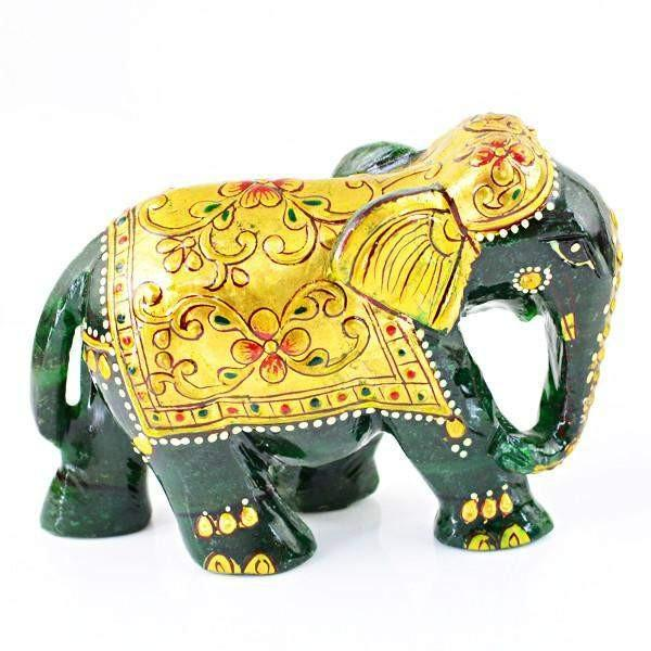 gemsmore:Natural Carved Elephant Rich Green Jade Gemstone
