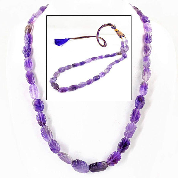 gemsmore:Natural Carved Purple Amethyst Necklace Hand Made Unheated Beads