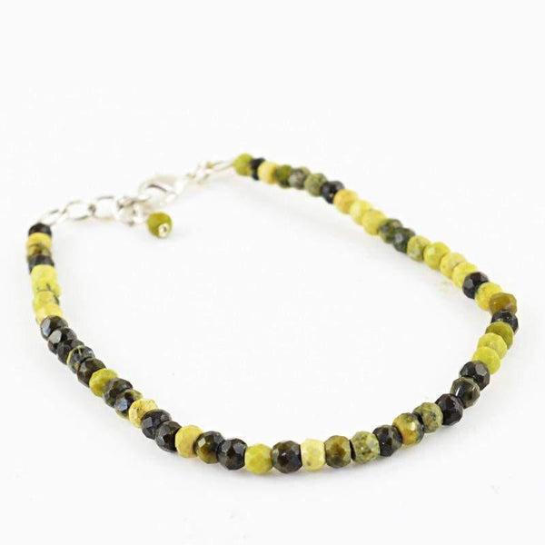 gemsmore:Natural Cat's Eye Bracelet Round Shape Faceted Beads