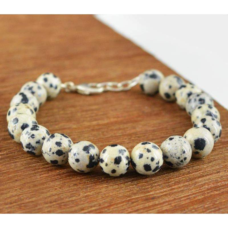 gemsmore:Natural Dalmation Jasper Bracelet Untreated Round Shape Beads