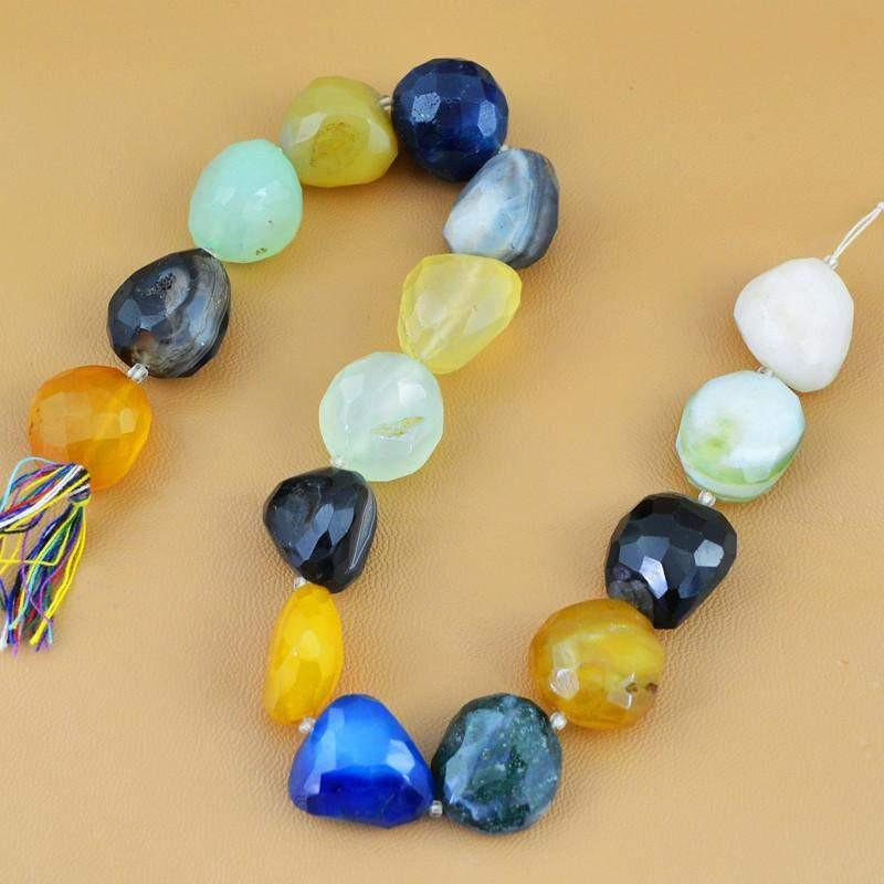 gemsmore:Natural Drilled Agate & Multicolor Onyx Faceted Beads Strand