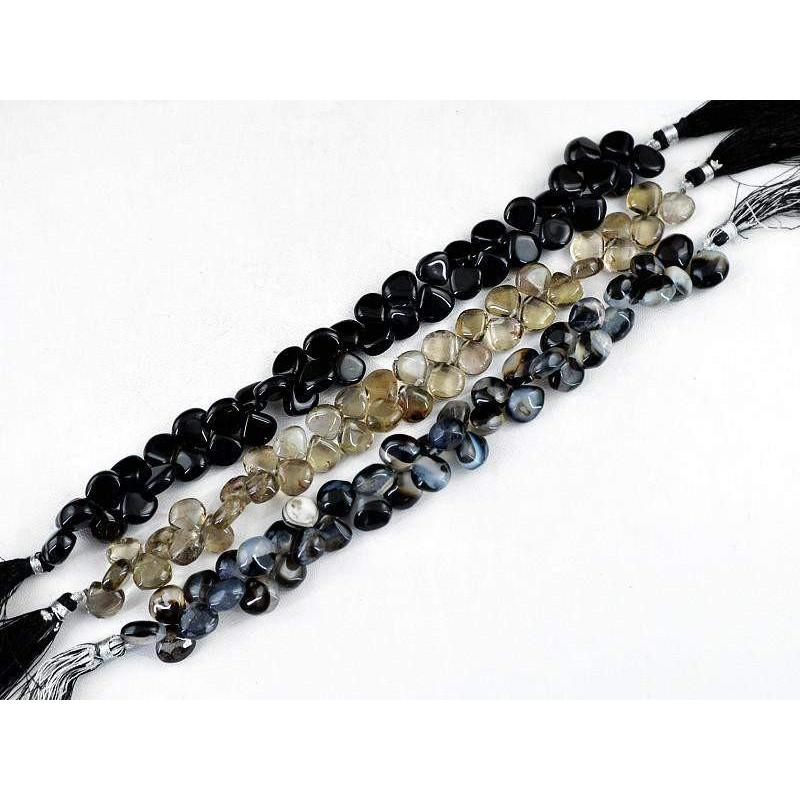 gemsmore:Natural Drilled Black Onyx & Smoky Quartz Beads Strands